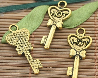25pcs dark gold tone key charms h3159