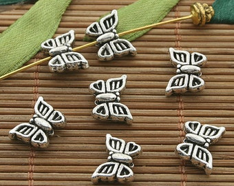 40pcs dark silver tone butterfly charm beads h3345