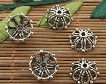 60pcs dark silver tone flower bead cap h3387