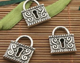 12pcs dark silver tone lock charm h3407