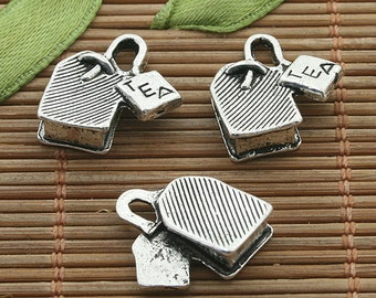 25pcs dark silver tone TEA lock charm h3451