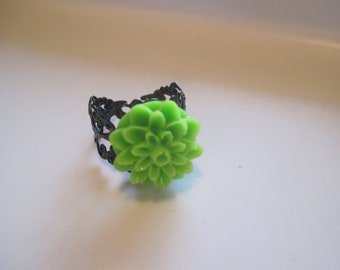 Lime Green Mum Ring, Green Black Filigree Ring, Neon Green Ring