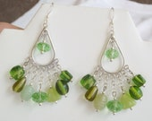 "Handmade Earrings, Sterling Silver, Swarovski Crystal, Glass Beads, Peridot, French Ear Wires, Multi Color, Multi Shape 2"" Dangle"