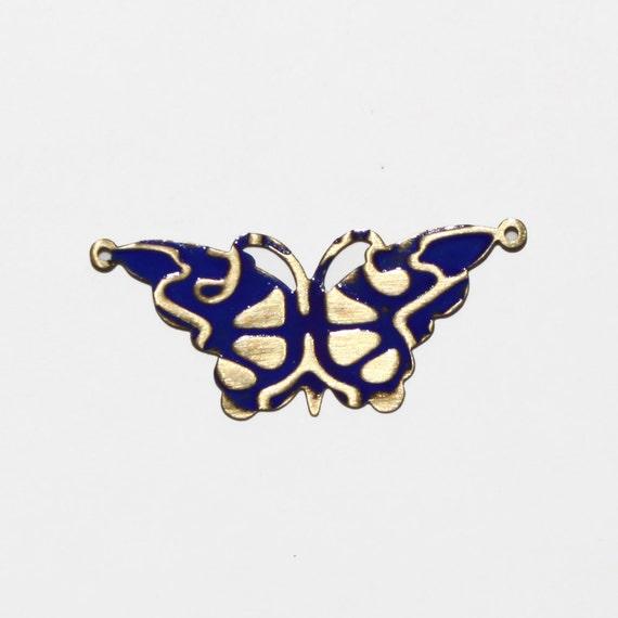 Butterfly Pendant Brass Blue