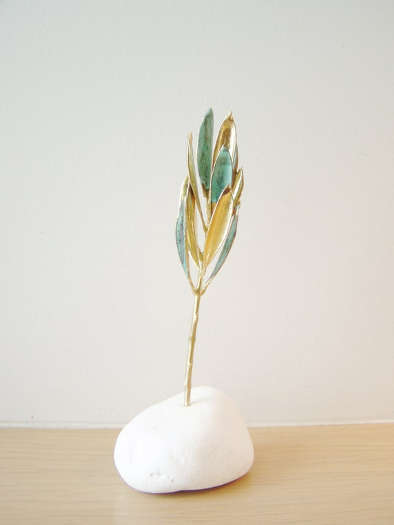 Real olive branch  eco sculpture on white stone, eco decor, eco favour