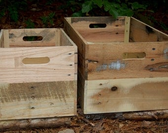 Wooden Crates/ Storage Bin/ Organization/ Reclaimed Wood/ Apple Crates