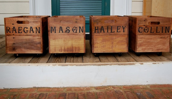 Personalized Wooden Crate/ Rolling Crate/ Medium Crate/ Entry Storage