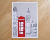 POSTCARD - 6x4.25 inches. London Red Telephone Box