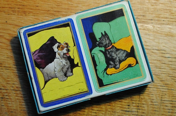 antique scotty dogs doggie playing cards two decks RARE GOODALL Thomas De La Rue and Co LTD London