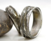 Romantic Wedding Ring, Mens band, Womens band - Hand forged stainless damascus steel Wedding Ring - Lord of Water
