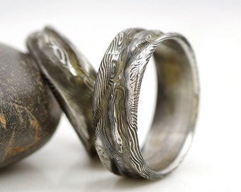 romantic wedding damascus steel ring rustic mens and womens band simple band for her - Damascus Wedding Ring