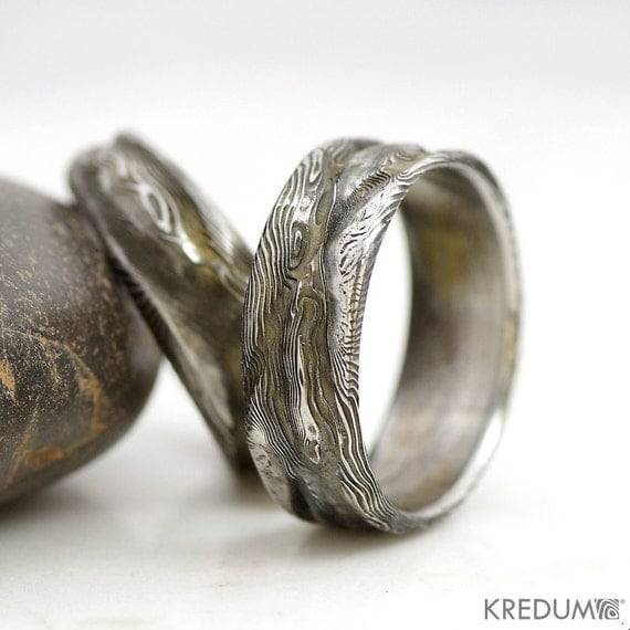 ROMANTIC Wedding DAMASCUS Steel Ring RUSTIC Mens And Womens
