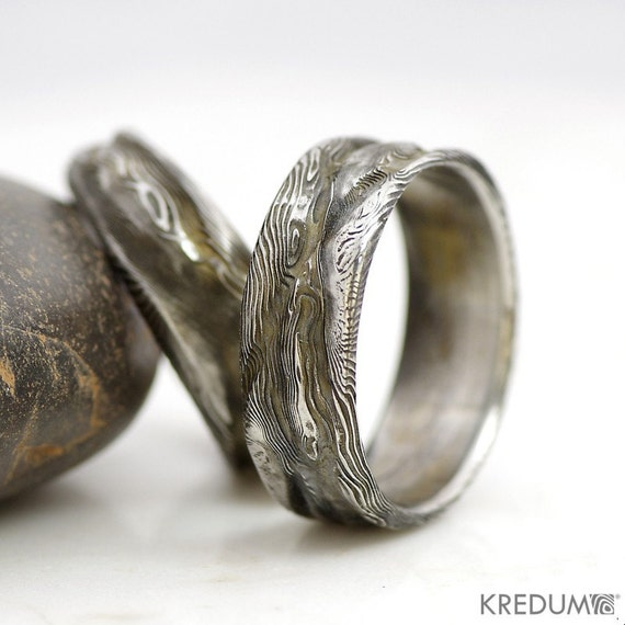 Damascus Steel Ring for Women Wedding Band Twisted Organic |Damascus Steel Rings For Women