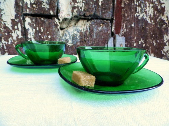 Beautiful Bottle Green Glass Retro 1970s French Coffee Cups and Saucers/ Vereco France