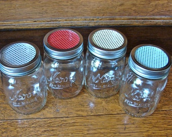 Mason Jar Shaker Lid - White - Handmade - Perfect for Parmesan Cheese, Cocoa or Cinnamon