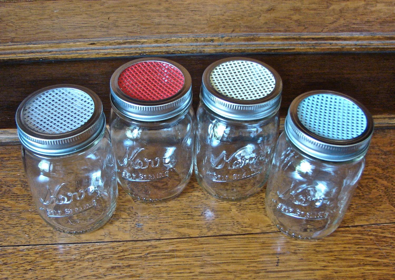 handmade mason jar shaker lid yellow perfect for parmesan. Black Bedroom Furniture Sets. Home Design Ideas