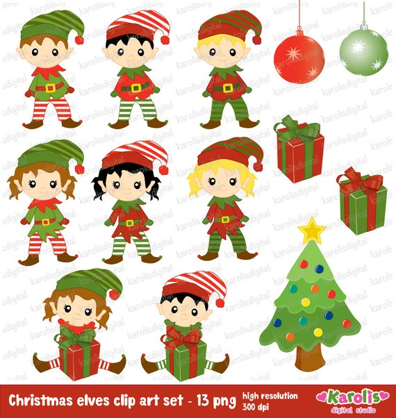 Cute Christmas Elves Digital Clip Art Set Christmas Tree