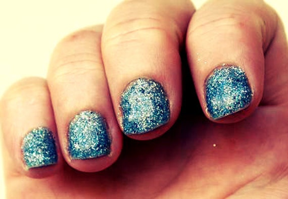 """Blue and Silver Glitter Nail Polish - """"Aquatic"""" - Only One Coat Needed, Long Wear"""