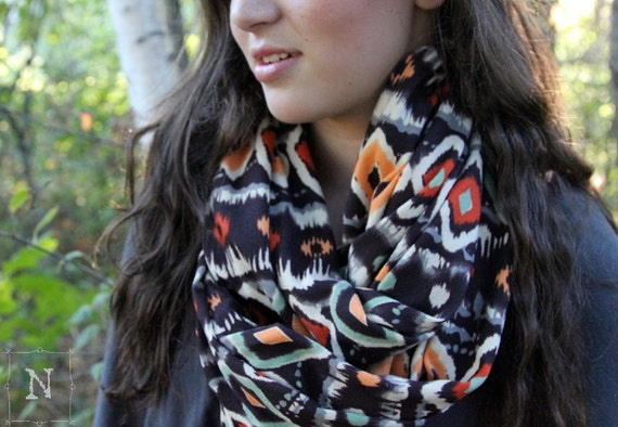 Sweater Knit Ikat Scarf -  Ikat Infinity Scarf - LIMITED EDITION