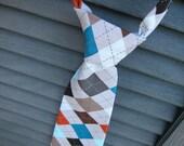 Boys Argyle Neck Tie- Toddler Tie- Birthday Neck Tie- Adjustable Velcro strap- teal, gray, orange, brown, white, black argyle