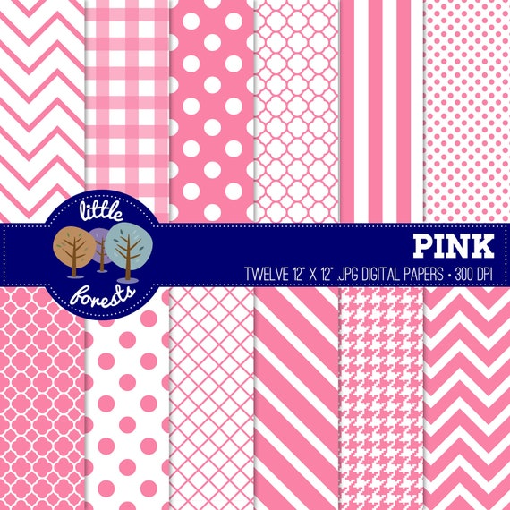 Pink Digital Paper Pack - 12 x 12 - chevron, stripes, dots, quatrefoil - BUY 2 GET 1 FREE