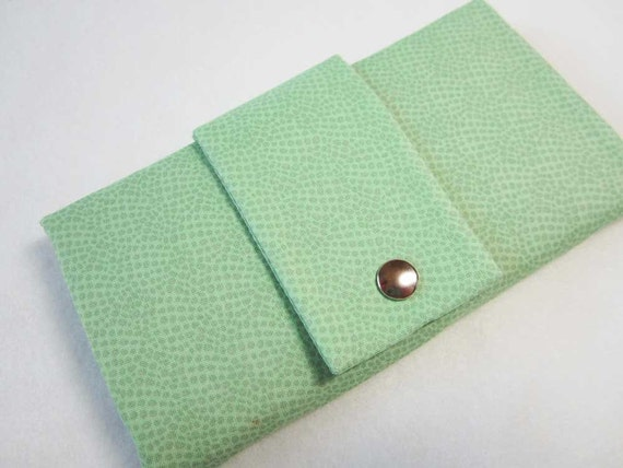 trifold wallet, floral cotton wallet, mint green and beige/brown with zip pocket and card slots
