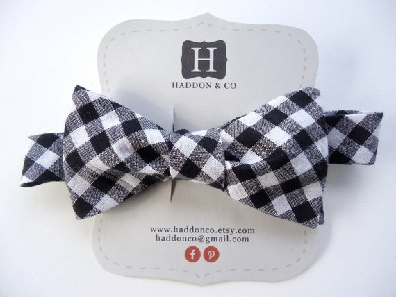 RESERVED for Stephanie - Men's Bow Tie - Black Gingham - Freestyle Tie