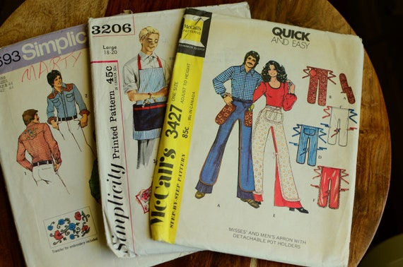 Lot of 3 Sewing Patterns from the 1970s