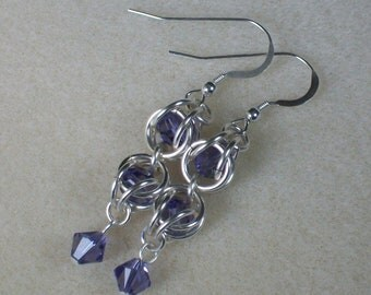 Tanzanite Chainmaille Earrings with Swarovski Crystals Caged December Birthstone Earrings