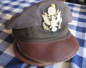 On Reserve for the Red Baran...WWII USAF Officers Crusher Hat Flighter by Bancroft OD Green Wool with Firefight Damage