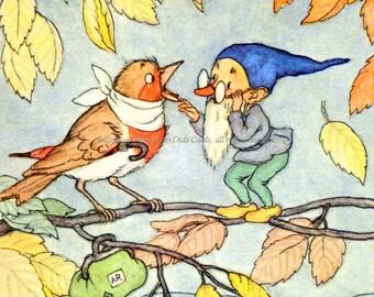 Garden Gnome Fabric Block - Elf Helps Sick Bird - Ida Bohatta Morpurgo
