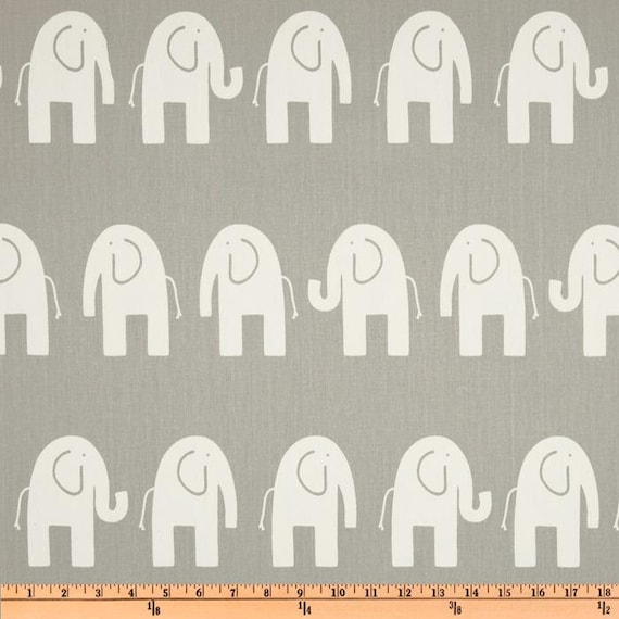 Elephants in Stom Grey - 1/2 yard - Premier Prints Home Decor