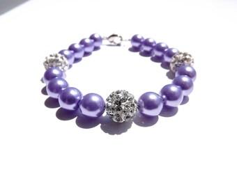 Lilac Bridesmaid Jewelry, Bridesmaid Lavender Bracelert, Pearl Pavé Jewelry, Wedding Pearl Jewelry,Light Purple Jewelry, Bridal Party Gift