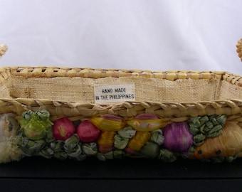 Vintage Hand Woven Phillipine Wicker Casserole Carrier Basket