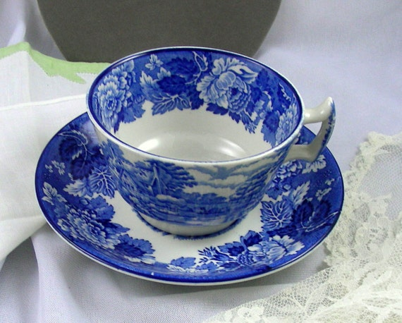 Wood & Sons English Scenery - Blue Transferware Cup and Saucer