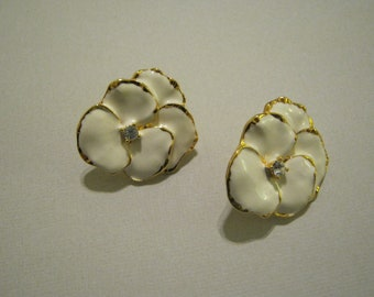 White enamel and rhinestone earrings