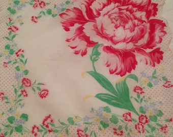 Handkerchief, floral print, scalloped edge