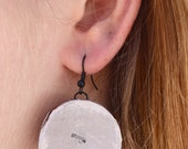 Wood Silver Hang Gliding Earrings