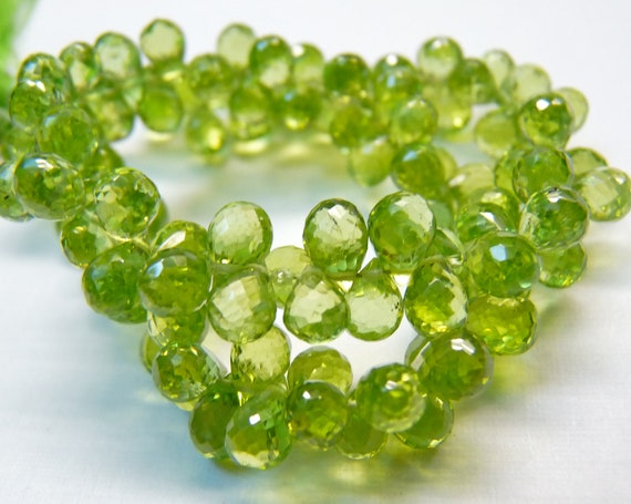 SALE AAA Peridot micro faceted teardrop briolette-August birthstone-set of 18 Pcs-6-6.8 mm-Item No.50