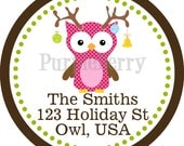 Christmas Address Labels - Silly Pink Brown Winter Woodland Creature Owl Personalized Address Label Stickers - 20 Holiday Address Stickers