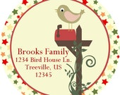 Christmas Address Labels -  Vintage Red and Green Star Christmas Bird Personalized Address Label Stickers - 20 Holiday Address Stickers
