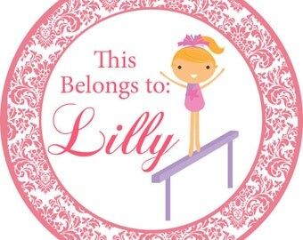 Personalized Name Stickers - Cute Pink Damask Girl Gymnast Name Tag Stickers - 2 inch Round Labels - Perfect for Back to School Labels