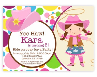 Cowgirl Invitation - Pink, Purple, Yellow Polka Dots, Girl Cowgirl and Hat Personalized Birthday Party Invite - a Digital Printable File