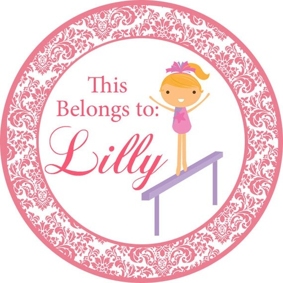 Personalized Name Stickers Cute Pink Damask Girl Gymnast