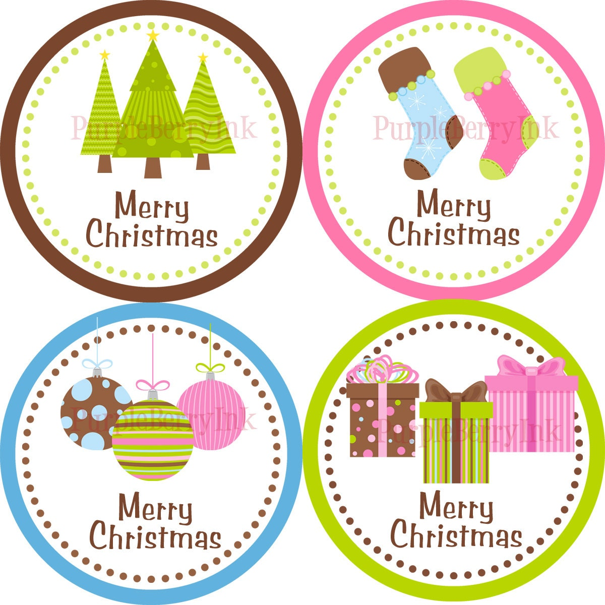 Christmas Stickers Pink Blue and Green Presents Ornaments