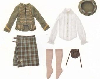 1/4 MSD BJD Unoa Doll Boy Scottish Highland Dress Set Kilt Sporran pdf Scaled E PATTERN in Japanese and Template Titles in English