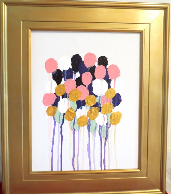 Mod Floral No. 8  Louis Vuitton Inspired Abstract Acrylic Painting on Canvas