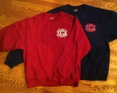 Monogrammed Crew Neck Sweatshirts Greek Available