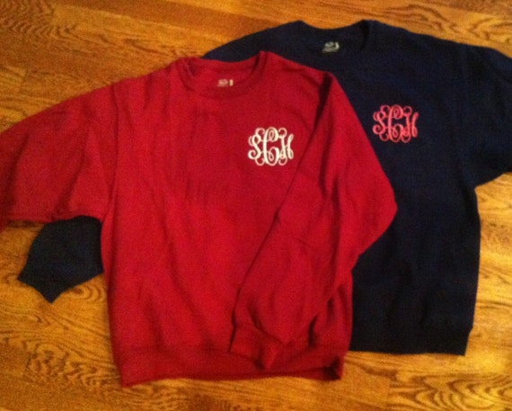 Monogrammed Crew Neck Sweatshirts Greek Available