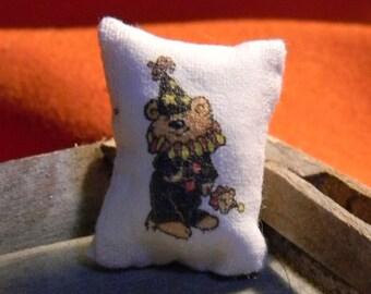 Pillow -  Bear Clown Costume  Halloween    -  Miniature Dollhouse Sized